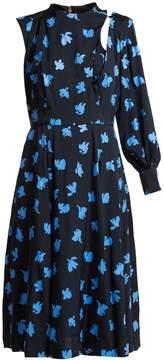 Toga Floral-print one-sleeved midi dress