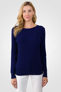 J CASHMERE Midnight Blue Cashmere Cable-knit Crewneck Sweater