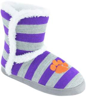 NCAA Women's Clemson Tigers Striped Boot Slippers