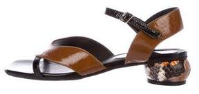 Dries Van Noten Patent Leather Ankle Strap Sandals