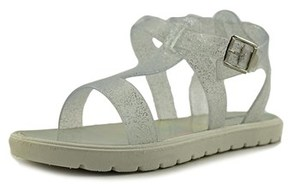 Nine West Heyleigh Youth Open-toe Synthetic Silver Slingback Sandal.