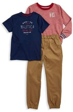 Nautica Little Boy's Three-Piece Pullover Tee, Sweatshirt And Pants Set