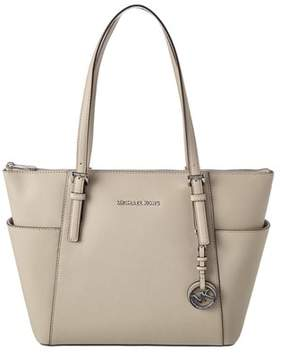 MICHAEL Michael Kors Jet Set Tz Leather Tote. - CEMENT - STYLE