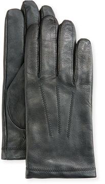 Neiman Marcus Leather Tech Dress Gloves, Black