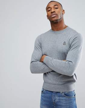 Psycho Bunny Crew Sweater Cotton Knit in Gray Marl