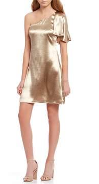 Astr Crystalyn Satin One Shoulder Flutter Sleeve Mini Dress