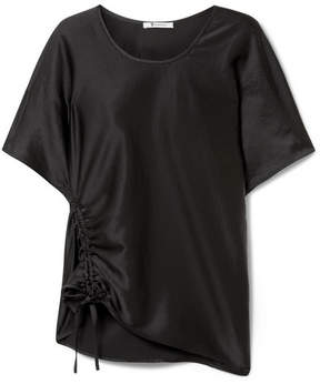 Alexander Wang Oversized Ruched Satin Top - Black
