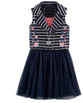 Knitworks Girls 7-16 Embroidered Flower Striped Moto Vest & Skater Dress Set with Necklace