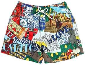 Dolce & Gabbana Cities Printed Nylon Swim Shorts