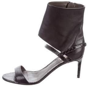 Reed Krakoff Snakeskin-Trimmed Ankle Strap Sandals