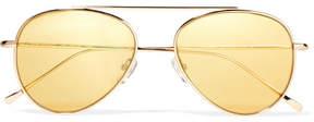 Illesteva Dorchester Aviator-style Gold-tone Sunglasses
