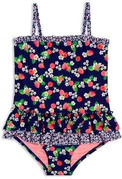 Hula Star Girls' Floral Raspberry-Print Swimsuit - Little Kid