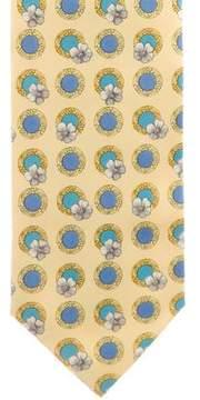Gianni Versace Floral & Medusa Print Silk Tie
