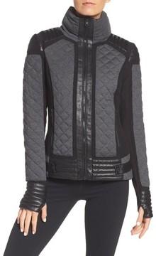 Blanc Noir Women's Mesh Inset Moto Jacket