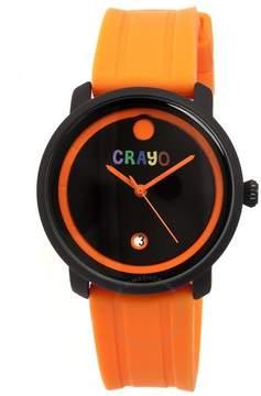 Crayo Fresh Black and Orange Dial Orange Rubber Unisex Watch