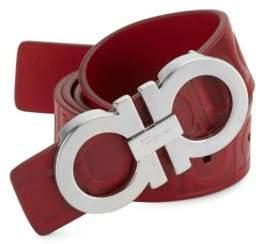 Salvatore Ferragamo Double Gancini Rosso Leather Belt