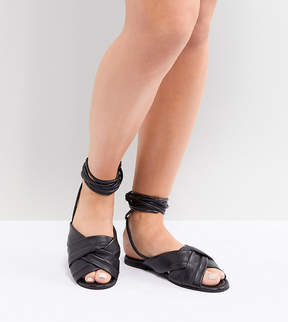 Asos DESIGN Wide Fit Valley leather knotted tie leg flat sandals
