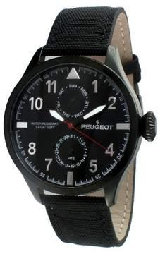 Peugeot Watches Men's Round Multifunction Nylon Strap Watch - Black