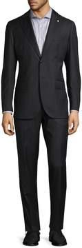 Lubiam Men's Striped Virgin Wool Suit