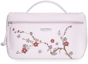 Longchamp Floral-Embroidered Leather Pouch Bag, Pink