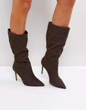 Carvela Special Gray Suede Slouch Heeled Ankle Boots