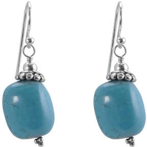 Barse Women's Turquoise Nugget Sterling Cap Earrings EXCLE242T