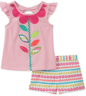 Kids Headquarters 2-Pc. Floral-Print Top & Shorts Set, Little Girls