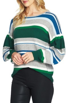 CeCe Women's Stripe Balloon Sleeve Sweater