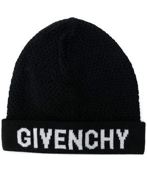 Givenchy logo patch beanie hat
