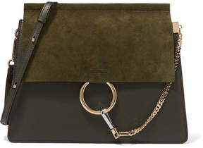 Chloé Faye Medium Leather And Suede Shoulder Bag - Dark green