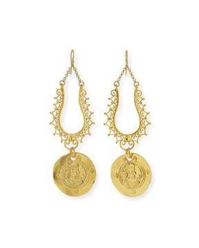 Devon Leigh Filigree Coin Drop Earrings