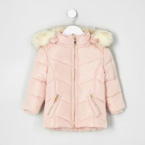 River Island Mini girls pink faux fur trim padded coat