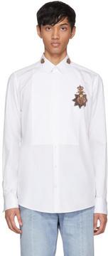 Dolce & Gabbana White Embellished Crown Shirt