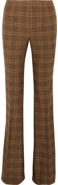 Michael Kors Collection - Lyndon Plaid Wool-blend Flared Pants - Brown
