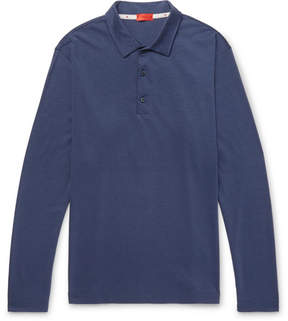 Isaia Slim-Fit Silk And Cotton-Blend Jersey Polo Shirt