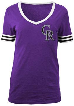 5th & Ocean Women's Colorado Rockies Retro V-Neck T-Shirt