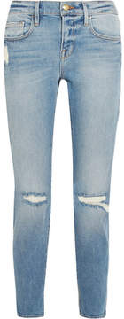 Frame Le Boy Cropped Distressed Mid-rise Slim-leg Jeans - Blue