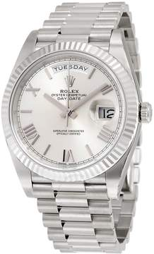 Rolex Day-Date 40 Silver Quadrant Motif Dial 18K White Gold President Automatic Men's Watch