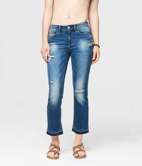 Aeropostale Skinny Kick Flare Destroyed Medium Wash Crop Jean