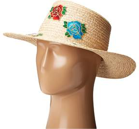 Hat Attack Rose Patch Boater Blogger Collaboration Hat w/ the Wardrobes