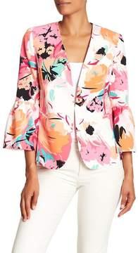 Nine West Printed Floral Ruffle Jacket