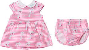 Agatha Ruiz De La Prada Pink Palm Tree Print Striped Dress And Bloomers