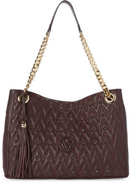 Mario Valentino Valentino By Eggplant Verra Studs Quilted Shoulder Bag