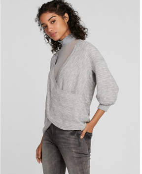 Express wrap front balloon sleeve sweater