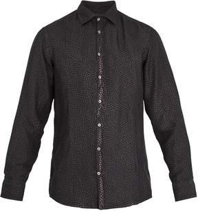 Massimo Alba Point-collar teardrop-print silk shirt