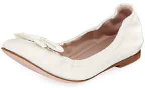 Stuart Weitzman Raven Crinkled Patent Bow-Toe Ballet Flat