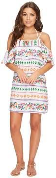 LaBlanca La Blanca Eden Emboidered Cold Shoulder Flutter Sleeve Tunic Cover-Up Women's Swimwear