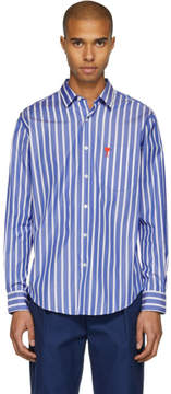 Ami Alexandre Mattiussi Blue and White Striped Ami de Coeur Shirt