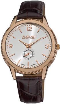August Steiner Silver Dial Brown Leather Men's Watch