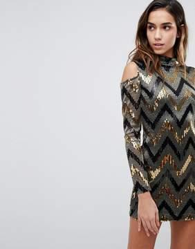 AX Paris Chevron Multi Sequin Cold Shoulder Party Dress